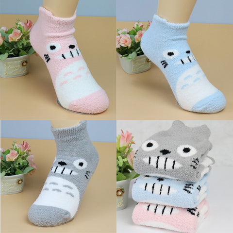 [Totoro] Thick Cartoon Plush Socks (various colors) HF00916