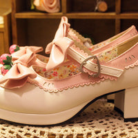 Strawberry Bells Bow Strap High-Heeled Shoes (various colors) HF00341