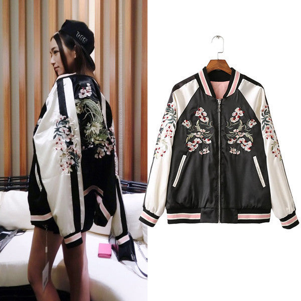 Embroidered Flower Harajuku Baseball Jacket HF00901
