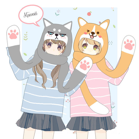 Kawaii Husky and Welsh Corgi Scarf HF00353