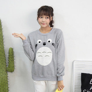[Totoro] Face Embroidered Sweater HF00275