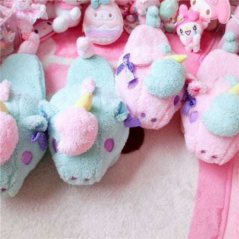 Gemini Unicorn Slippers (pink and green) HF00784