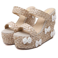 Small Bows Rattan Grass High-heeled Shoes (various colors) HF00688