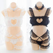 Sexy Heart Key Hole Chest Lace Lingerie Set HF00246