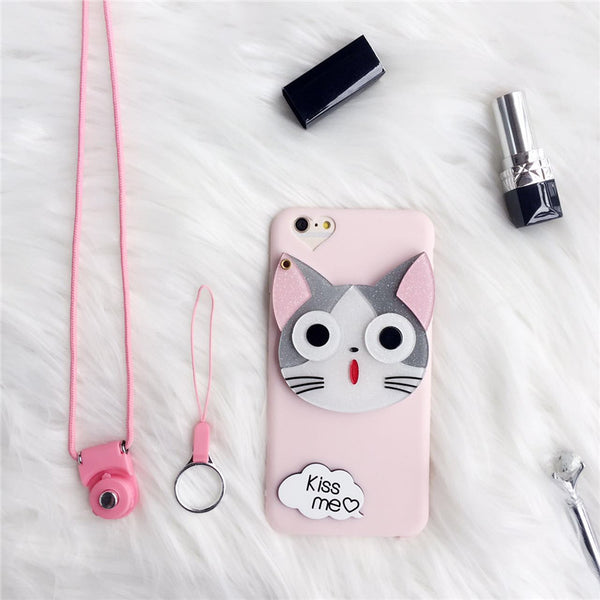 "Cute ""Kiss Me"" Kitty Mirror Attached iPhone Phone Case HF00429"