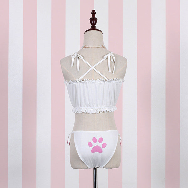 Cute Kitty Cat Keyhole Bra Choker Underwear Lingerie Set (white and black) HF00020