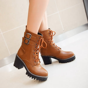 Belt Buckle High-heeled Martin Boots (various colors) HF00920
