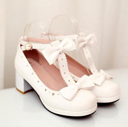 Cute Heart Bow Lolita Shoes (various colors) HF00025