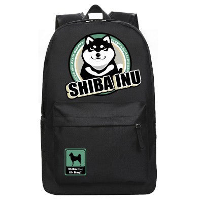 [Shiba Inu] Dog Print Backpack Bag (black and khaki) HF00880