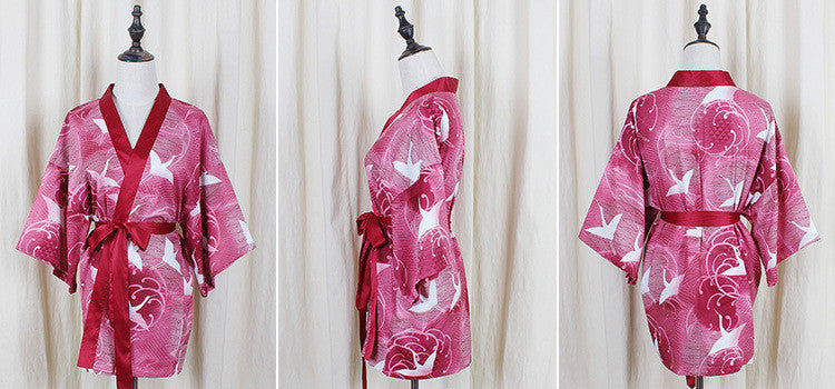 Japanese Red Kimono Bathrobe Skirt Dress Set HF00039