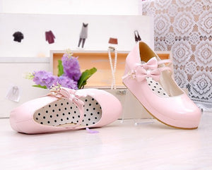 Lolita Doll Bow Strap Platform Shoes (various colors) HF00893