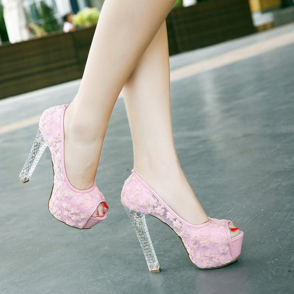 Flower Transparent Heels High-heels Shoes (various colors) HF00746