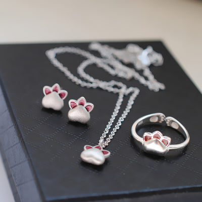 Cute Kitty Cat Necklace Ring and Earring Set HF00332
