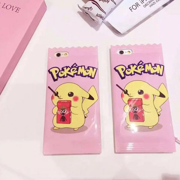 [Pokemon] Cute Pikachu Pocky Pink iPhone Phone Case HF00728