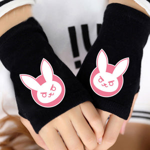 [Overwatch] D.VA and Overwatch Logo Black Half Hand Gloves HF00883