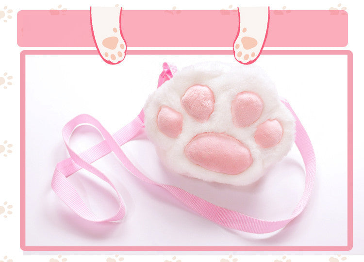 Cute Small Plush Kitty Cat Paw Shoulder Bags (white and black) HF00754 2b04dd9998289