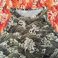 Wave Pattern Printed Halter Tops (gray and orange) HF00220
