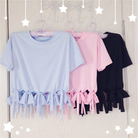 Japanese Casual Tie Bow Short-sleeved T-shirt (various colors) HF00386