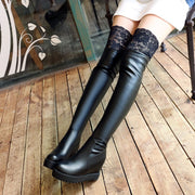 Korean Sexy Lace Knee Boots (black and white) HF00474