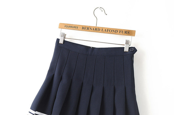 Striped Student Pleated Skirts (various colors) HF00915