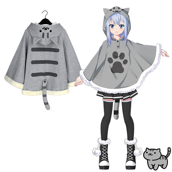 [Neko Atsume] Cute Cartoon Winter Cloak (gray and yellow) HF00103