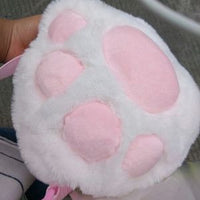 Cute Small Plush Kitty Cat Paw Shoulder Bags (white and black) HF00754