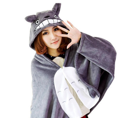 [Totoro] Hooded Thick Plush Pajama Cloak HF00670