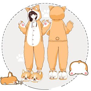Cute Welsh Corgi Cartoon Pajama HF00079