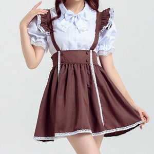 Ruffle Straps Cosplay Maid Dress (brown) HF00613