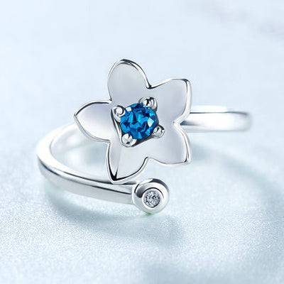 Lucky Blue Stone Flower Sterling Silver Ring HF00927