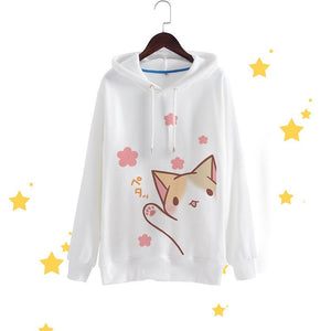 Cute Loose White/Black Long Sleeve Hooded Cat Sweater HF00840 - Harajuku Fever