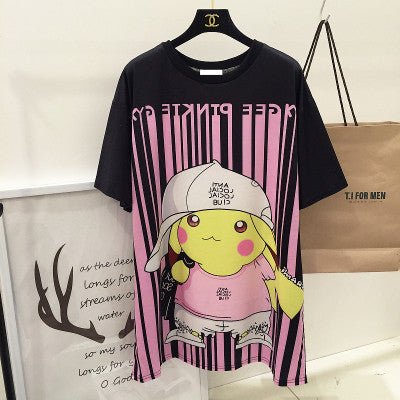 [Pokemon] Pikachu Hiphop Barcode Print Loose Long T-shirt HF00588
