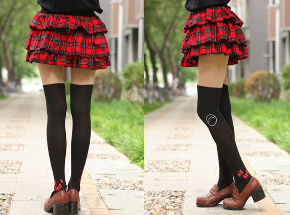 [Big Hero 6] Baymax Cartoon Tights (black and white) HF00013
