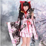Sakura Lolita Bow Flowers Kimono Dress (black and pink) HF00379