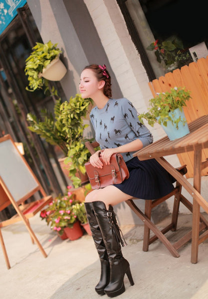 Leather Strap High-heeled Boots (various colors) HF00526