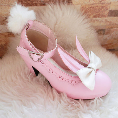 Cute Lolita Bunny Bow High-heeled Shoes (various colors) HF00336