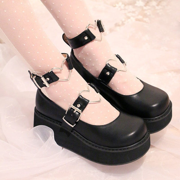 Lolita Love Heart Buckle Platform Shoes HF00328