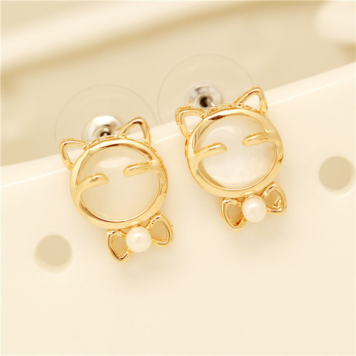 Cute Kitten Earrings HF00482