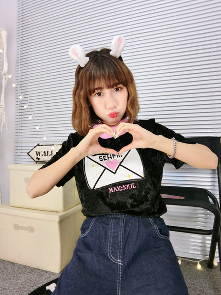 Senpai Heart Letter Embroidered High Neck T-shirt (various colors) HF00630