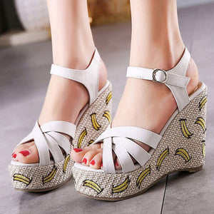 Korean Lady Banana Pattern High-heeled Shoes HF00710