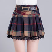 Korean Style Grid Pleated Skirt HF00866