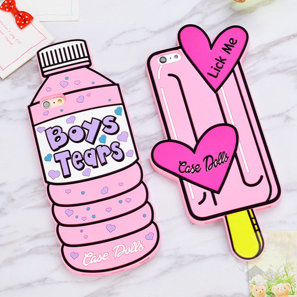 Bottle and Popsicle Ice Cream Soft Silicone Mobile iPhone Phone Case HF00087