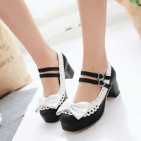 Lolita Doll Bow Lace Heeled Shoes (various colors) HF00892