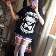 [Sailor Moon] Skeleton T-shirt (black and pink) HF00315