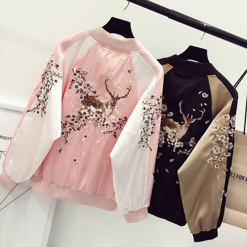 Deer Flower Tree Embroidered Jacket (black and pink) HF00832
