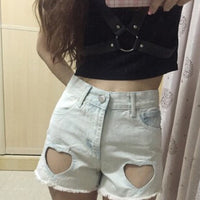 Hollow Heart Demin Shorts (white and blue) HF00166