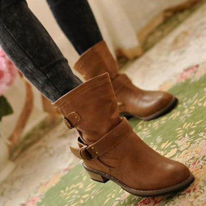 Casual Flat Boots (brown and black) HF00505