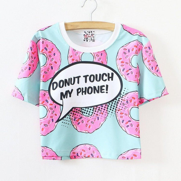 Donut Touch My Phone Printed T-shirt HF00131