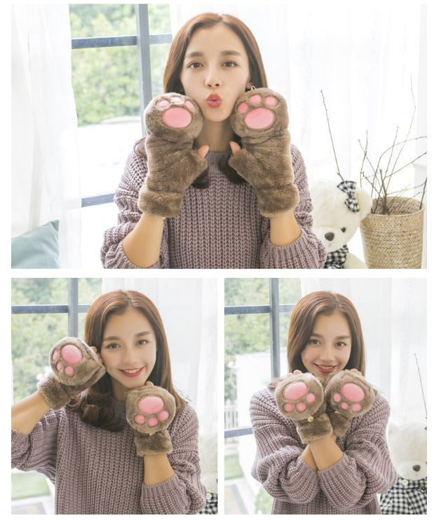 Kitty Cat Paw Kawaii Thick Velvet Gloves (various colors) HF00115