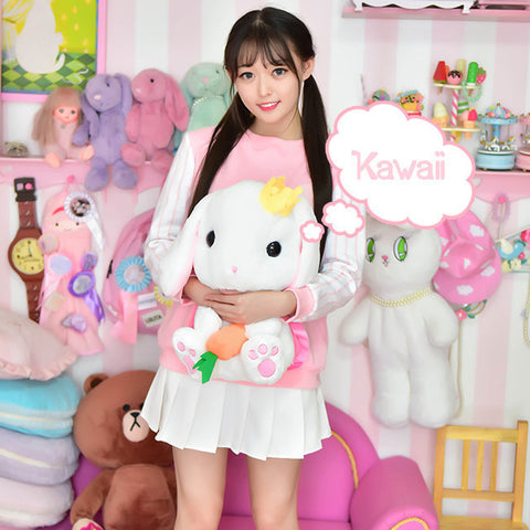 Cute Fluffly Bunny Backpack (white and gray) HF00752